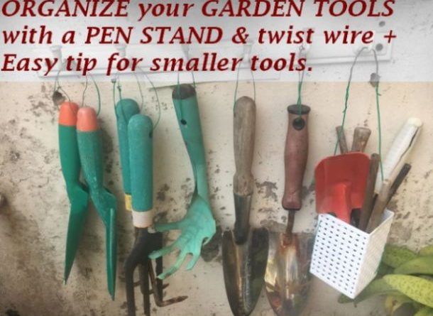 organize garden tools idea
